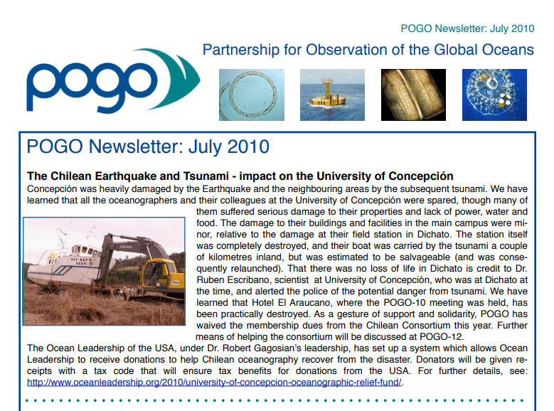 1st POGO Newsletter published
